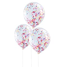Ginger Ray PM-922 Pick And Mix Confetti Filled Clear Party Balloons Party Decorations (5 Pack), Multicolor