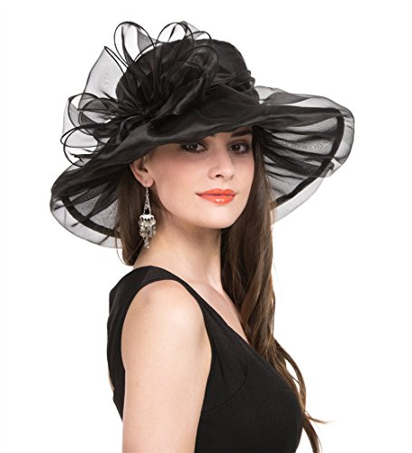 Women's Organza Church Kentucky Derby British Fascinator Bridal Tea Party Wedding Hat Summer Ruffles Cap (H8-Black Bowknot) -
