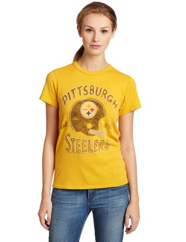NFL Women's Pittsburgh Steelers Heather Vintage Short Sleeve Crew (Mustard, - Pittsburgh Mills