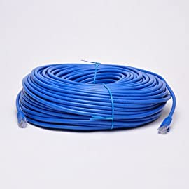 UbiGear New 300ft Blue RJ45 CAT6 Ethernet LAN Network Internet Computer Solid Wire 23 AWG UTP Cable 64 100% new high quality Original Standard Ethernet Cable, CAT6 Wire Construction: CCA - Copper Clad Aluminum (Solid wire) This CAT6 patch cable has two RJ-45 male to male connectors and features 50-micron gold plated connectors which ensure a clean and clear transmission.