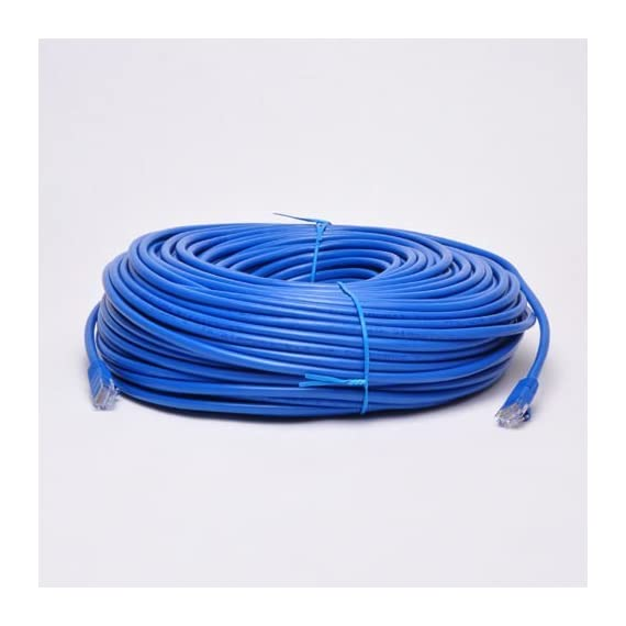 UbiGear New 300ft Blue RJ45 CAT6 Ethernet LAN Network Internet Computer Solid Wire 23 AWG UTP Cable 1 100% new high quality Original Standard Ethernet Cable, CAT6 Wire Construction: CCA - Copper Clad Aluminum (Solid wire) This CAT6 patch cable has two RJ-45 male to male connectors and features 50-micron gold plated connectors which ensure a clean and clear transmission.