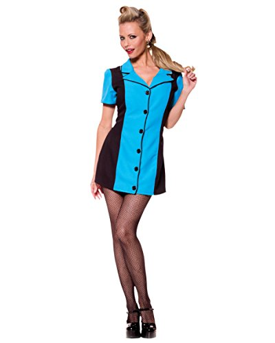 [Blue Bowling Shirt Dress 50s Costume Retro Theatre Costumes Sizes: Medium] (1950s Costume Ideas For Women)