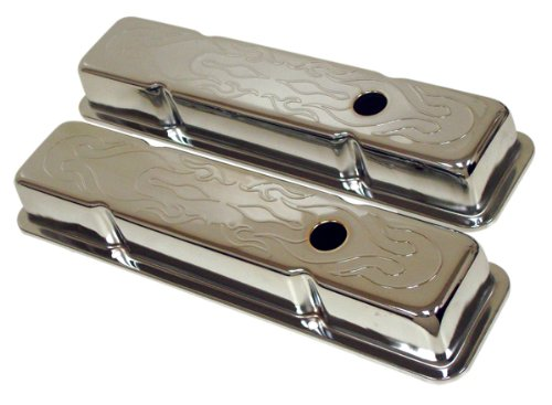 1958-86 Compatible/Replacement for Chevy Small Block 283-305-327-350-400 Short Steel Valve Covers - Flamed (Flamed Cover)