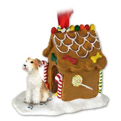 Eyedeal Figurines Wire Hair Fox Terrier Dog New Resin Gingerbread House Christmas Ornament 59
