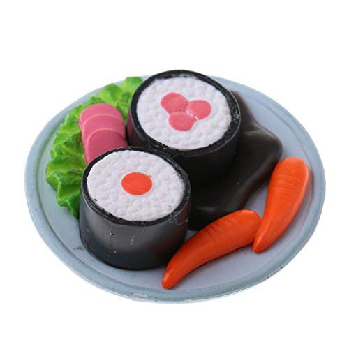 NATFUR Miniature Japanese Food Rice Roll Sushi Dollhouse Kitchen 1:12 - Round Plate ()