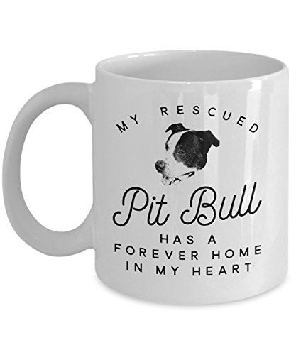 Pit Bull Rescue Mug - Cute Coffee Cup For Pet Staffordshire Terrier Dog Lovers - Cool Unique Novelty Christmas Pittie Gift For Men And Women - Pitty Animal Quote Statement Accessories