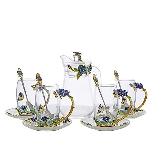 - New Products 13-Piece 3D Flower Glass Tea Mug Set Hot And Cold Drinks Cups, Pots, Spoons And Coaster Flower Tea Set Milk, Coffee Luxury Gift Box Packing (Combination, Blue High)