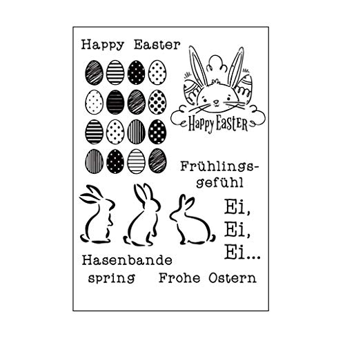 WHER Happy Easter Rabbit DIY Silicone Clear Stamp Cling Seal Scrapbook Embossing Album Decor