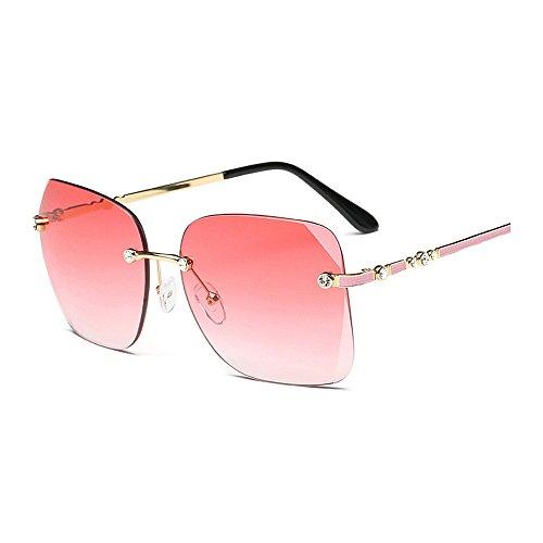 gran Gafas sol Peggy marco Gafas para sin de conducir cristal para con claras de personalidad la Rojo mujer tamaño de Gu UV de Rojo viajando Frameless Protección sol Color Square OXqrxOwPa