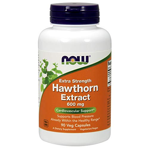 NOW Supplements, Hawthorn Extract, Extra Strength 600 mg, 90 Veg Capsules (Best Hawthorn Berry Extract)