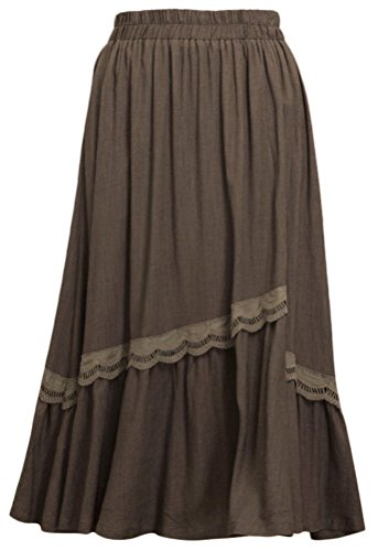 Soojun Women's Elegant Embroidery Solid Cotton Linen Maxi...