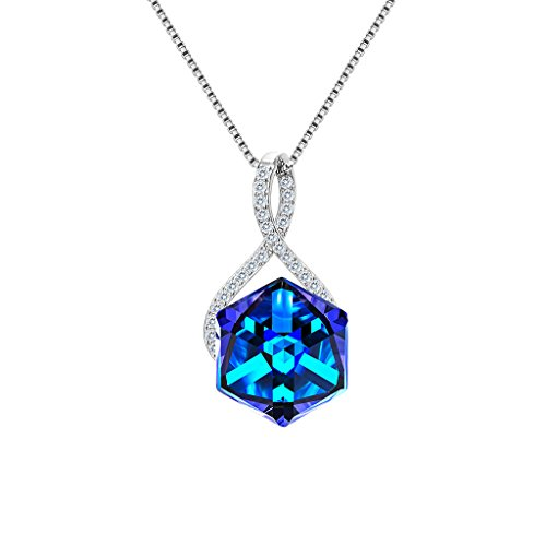 EleQueen 925 Sterling Silver CZ Infinity Square Pendant Necklace Blue Made with Swarovski Crystals