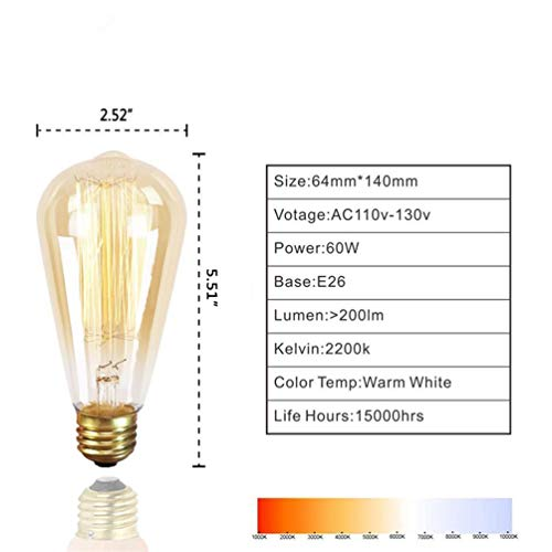 6 Pack Edison Retro Bulbs, Squirrel Cage Filament, ST64-60W, E26 Medium Standard Base, Dimmable, Amber Warm