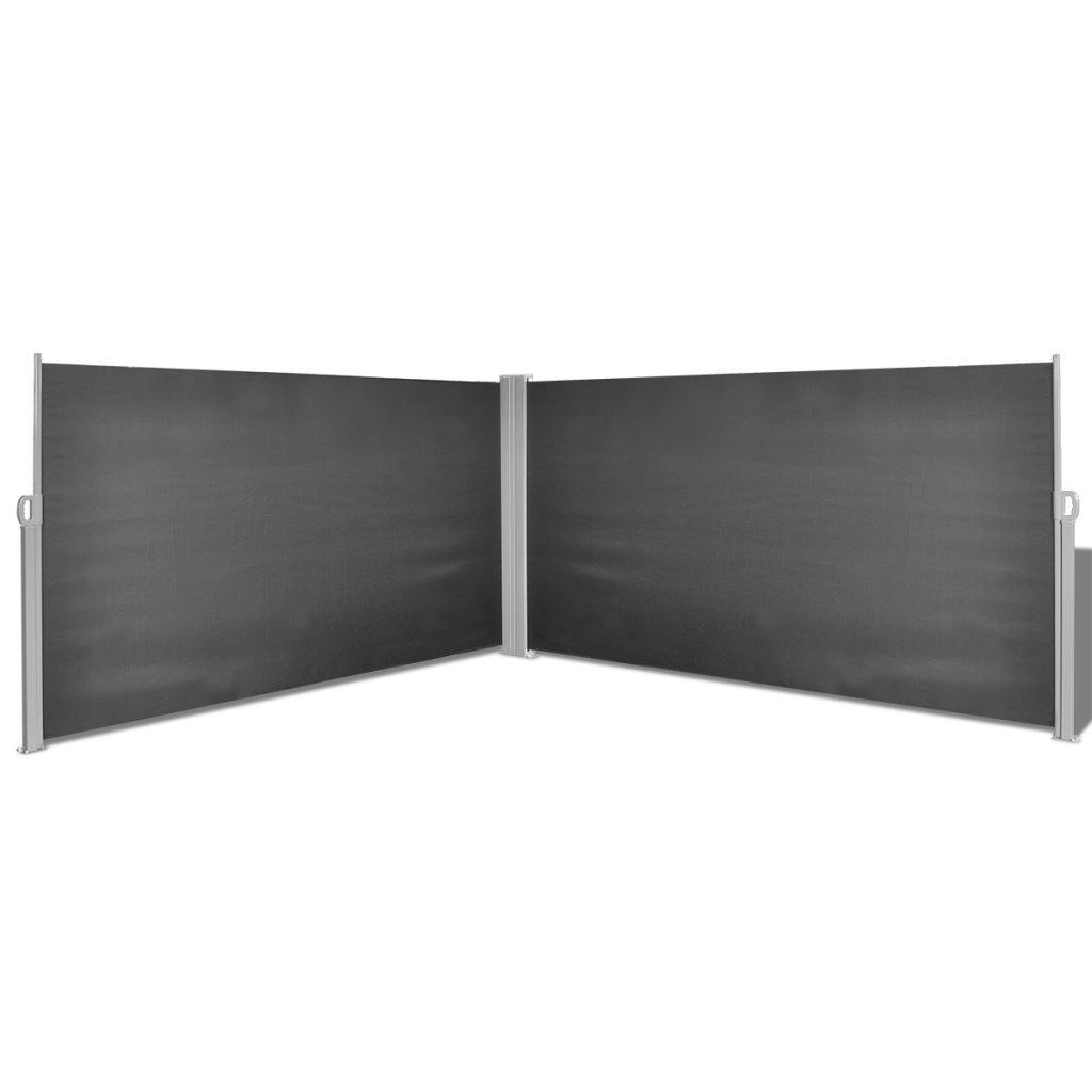 Festnight Ausziehbare Seitenmarkise Markise 160x600cm Standmarkise mit Standpfosten Sichtschutz Sonnenschutz Schwarz für Balkon Terrasse