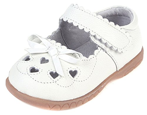 Femizee Girls Leather Bows Design Soft Round Toe Princess Dress Mary Jane Flat Shoes(Toddler/Little Kid),White,1505 CN25 (Shoes White Toddler Dress)