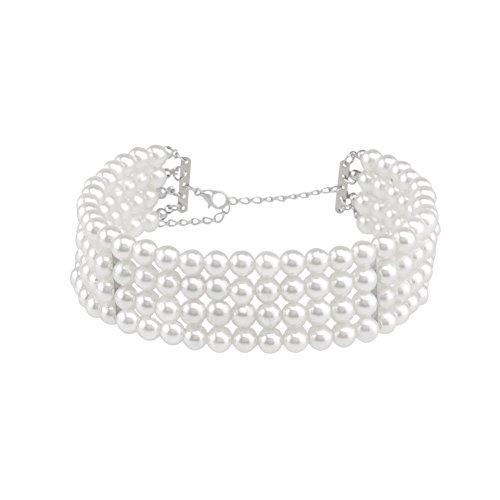 ZaH Women Choker Necklace Retro Pearl Chokers Wide Jewelry Gift Wedding Party