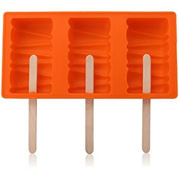 Silicone Ice Pop Molds, Beasea 3-Cavity Funny Popsicle Mold Ice Cream Mould, DIY Candy Chocolate Soap Jelly Moulds Tray with 50 Wooden Sticks