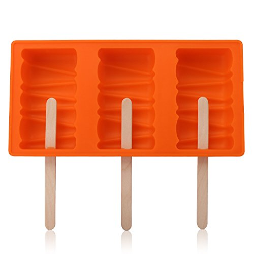 Beasea 3-Cavity Silicone Ice Pop Molds Funny Popsicle Mold Ice Cream Marker, DIY Candy Chocolate Soap Jelly Moulds Tray with 50 Wooden Sticks