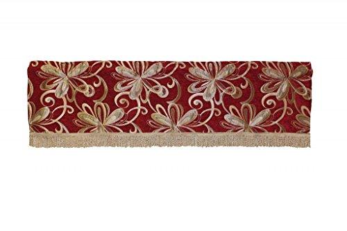 Vintage Chenille - Violet Linen Chenille Chateau Vintage Floral Design Window Valance, 60