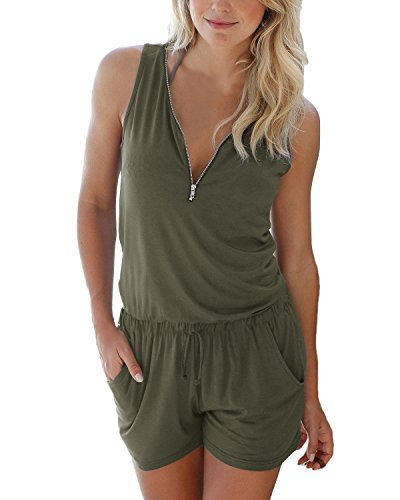 Women V Neck Half Zip Romper