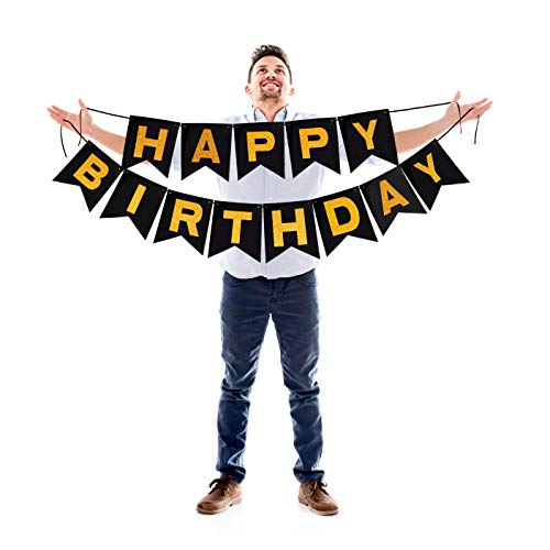 Happy Birthday Black Bunting Banner with Gold Letters Sparkling Glitter Garland for Dramatic Photo Booth Backdrop Picture Hanging Felt Cardstock Party Decorations -
