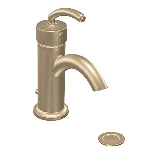 Moen S6500BB Icon Single-Handle Lavatory Faucett with Drain Assembly, Brushed Bronze