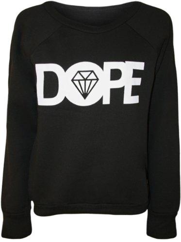 Papermoon - Pull simple avec le mot 'DOPE' et l'image du diamant - Pulls - Femmes - Noir - 40-42