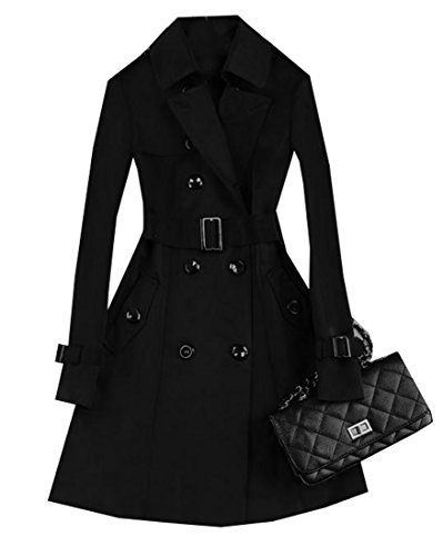 ARRIVE GUIDE Womens Vogue Double Breasted Belt Lapel Slim Outdoor Trenchcoat Black (Double Breasted Wool Belt)