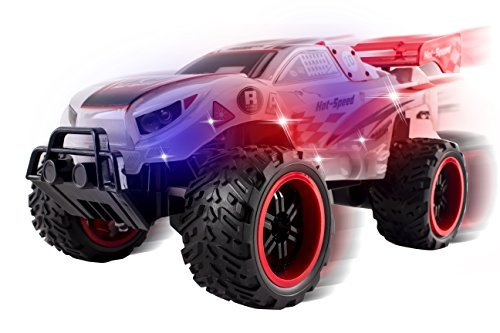 Vokodo Light up Body and Wheels Ready Thunder Remote Control Truck, Red Transparent Radio Remote Controlled Truck