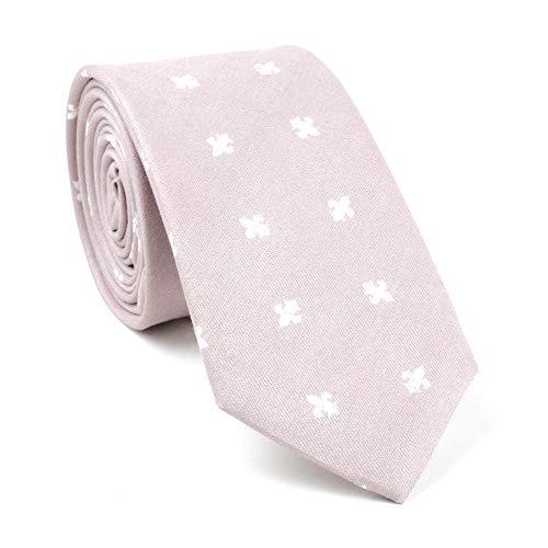 Business Men's Cotton Floral Tie Neck Tie Blush Pink Wedding Necktie Narrow Slim 2.75 inch