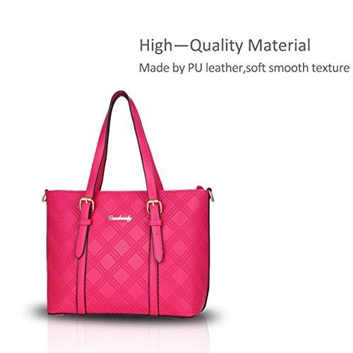 Nicole&Doris Las nuevas señoras de bolso de totalizadores del hombro del bolso de compras de cuero PU bolso grande de alta capacidad Rosa roja Rosa roja