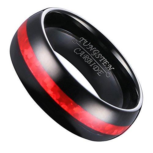 Hosty Bten Men 8mm Ceramic Black With Red Carbon Fiber