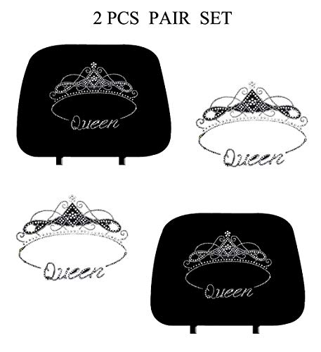 KAAA ALLBrand Crystal Studded Bling Rhinestone Car Truck Seat Headrest Covers - Pair (Queen/Black)