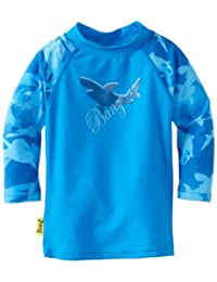Baby Banz Boys Infant Long Sleeve Loose Fit Rash Top, Fin Frenzy Blue, 6-12 Months