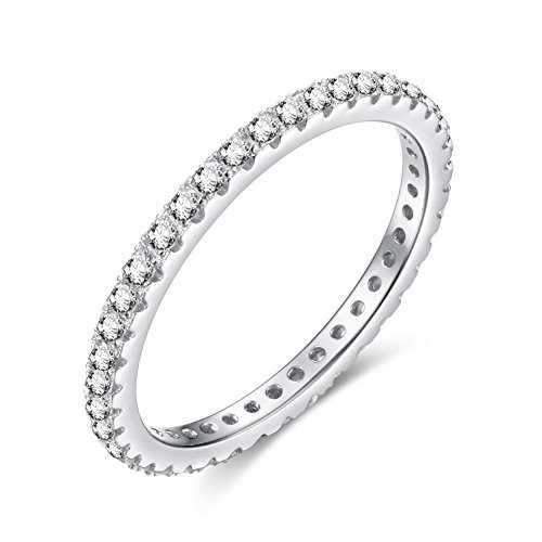 EAMTI 925 Sterling Silver Wedding Band Cubic Zirconia Stackable Eternity Engagement Ring Size 7.5