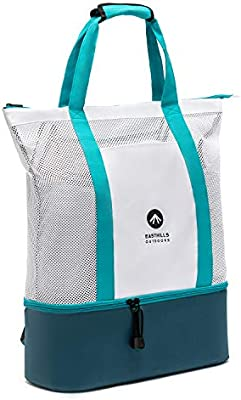 Large Mesh Beach Tote Bag with Zipper and Insulated Picnic Cooler Leak-proof for