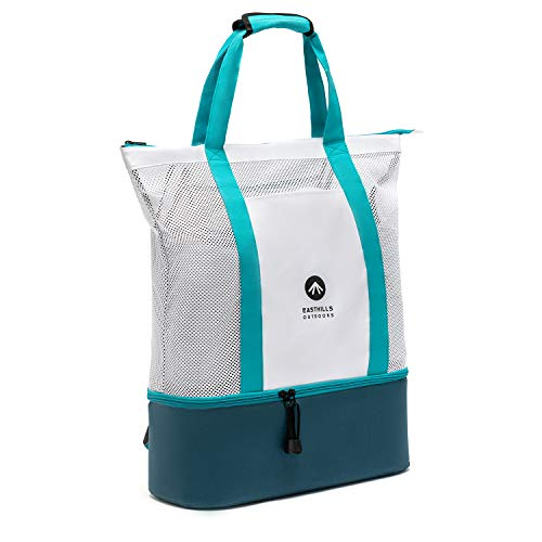 Easthills Outdoors Carryall 12 Zipper Top Mesh Beach Tote Bag with Insulated Picnic Cooler, Leak-proof Rigid Bottom Travel back-pack with Adjustable Comfort Padded Shoulder Straps Turquoise Blue