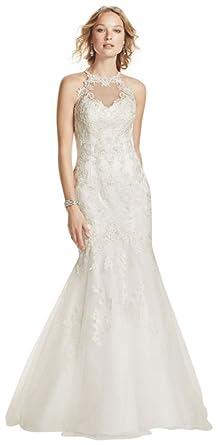 David\'s Bridal Jewel Lace and Tulle Illusion Neck Wedding Dress ...