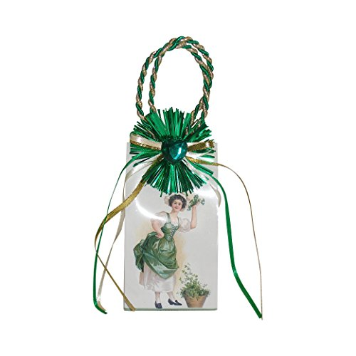 Miniature Music Box Mini Gift Bag - White with Shamrock desi