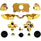 Canamite LB RB LT RT Plating Bumper Trigger Button Set Case Cover for Xbox One Elite Controller with 3.5mm headphones jack (gold)