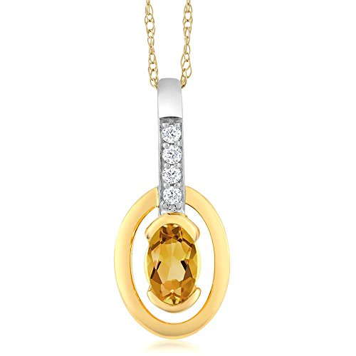 Gem Stone King 10K Two-Tone Gold Diamond Oval Yellow Citrine Pendant with Chain 0.24 cttw