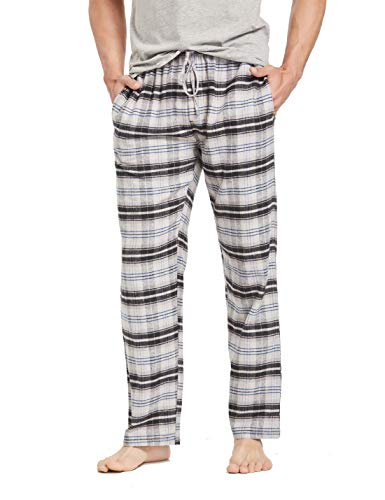 CYZ Men's 100% Cotton Super Soft Flannel Plaid Pajama Pants-TwillBlackBlueTartan-M (Mens Flannel Pajamas Tall)
