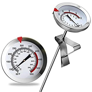 """8"""" Mechanical Meat Thermometer Instant Read, Long Stem, Waterproof, No Battery Required, Stainless Steel Deep Fry Thermometer for Turkey, BBQ, Grill"""