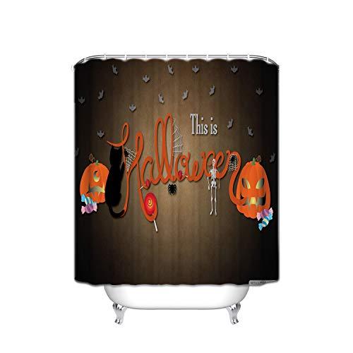ALDECOR Happy Halloween Bathroom Shower Curtain Funny Quotes Mildew Resistant Anti-Bacterial PEVA Shower Curtain - 36 x 72 -