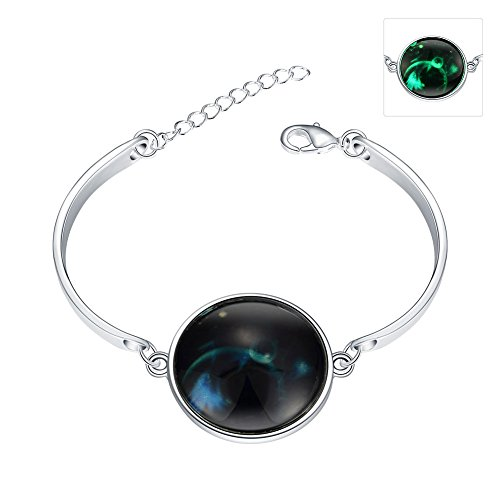 iCAREu Silver Plated Adjustable Bangle Bracelet with a Fluorescent Signs of The Zodiac Pendant, - Hours Little Rock Mall