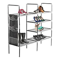 "Halter 5 Tier Stackable Shoe Rack Storage Shelves - Stainless Steel Frame Holds 25 Pairs of Shoes - 35.75"" x 11.125"" x 34.25"" - Gray"