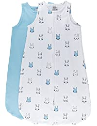 100% Cotton Wearable Blanket Baby Sleep Bag Blue Bunnies 2 Pack (3-6 Months)