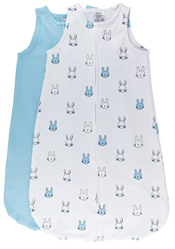 - 100% Cotton Wearable Blanket Baby Sleep Bag Blue Bunnies 2 Pack (3-6 Months)