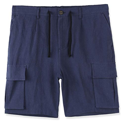 DESPLATO Mens Casual Classic Comfort Soft Linen/Cotton Pocket Chino Cargo Short Royal Navy M ()