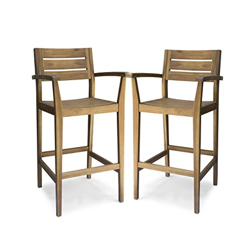 - Great Deal Furniture 305813 Lera Outdoor Acacia Wood Barstool, Teak Finish